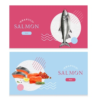 Sea food isolated horizontal banners salmon fish and red caviar realistic images