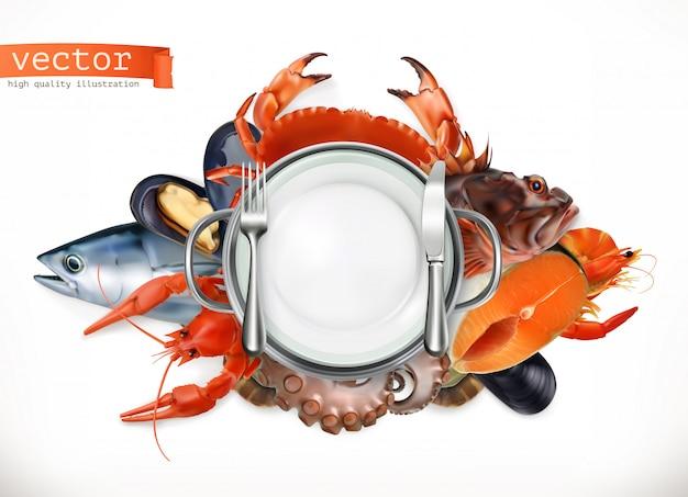 海の食べ物のロゴ。魚、カニ、ザリガニ、ムール貝、タコ3d、リアリズムスタイル