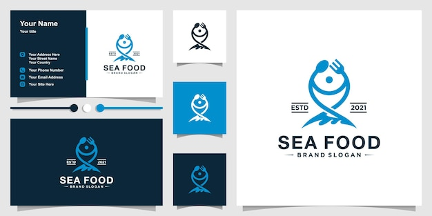 Sea food logo template with spoons and forks to form fish and business card design premium vector