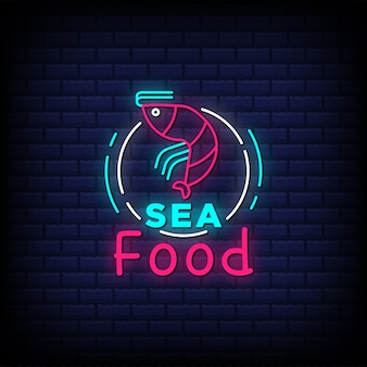 Sea food neon sign style text with fish icon