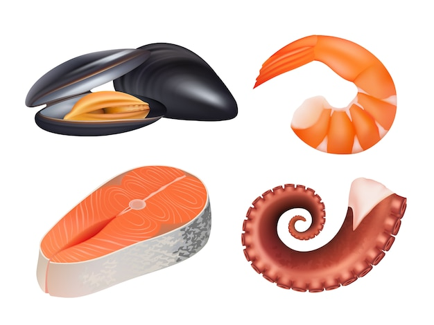 Sea food realistic. fresh fish meal salmon uncooked natural protein  pictures of sea ocean food