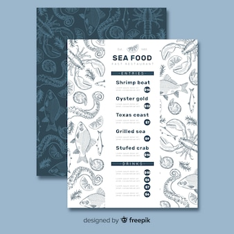 Sea food restaurant menu template