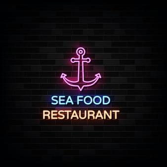 Неоновые вывески ресторана морепродуктов. дизайн шаблона в неоновом стиле