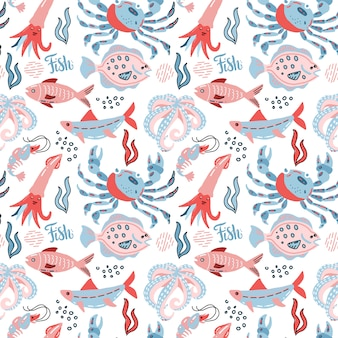 Sea food seamless pattern in scandinavian style