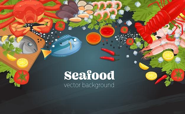 海の食べ物のトップビューの背景