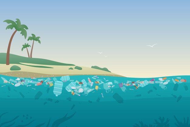 Морской мусор в загрязненной воде, грязный океанский пляж с мусорным пластиком на песке и под поверхностью воды