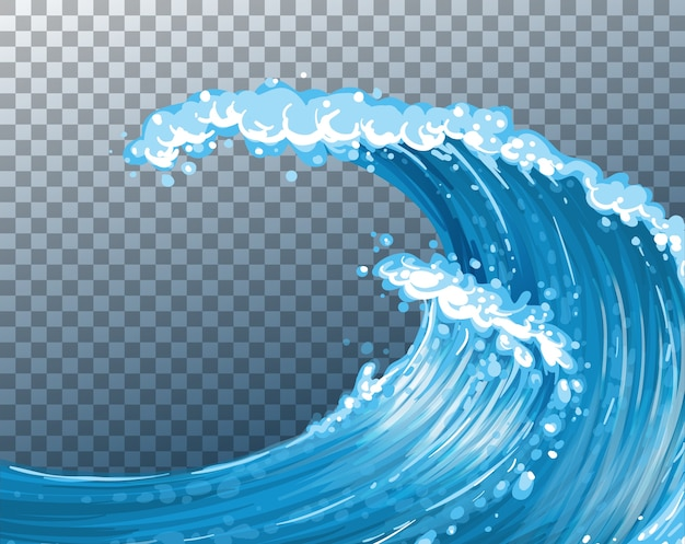 Sea giant waves transparent background