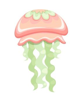 Sea green and red jellyfish tropical underwater animal aquatic organism