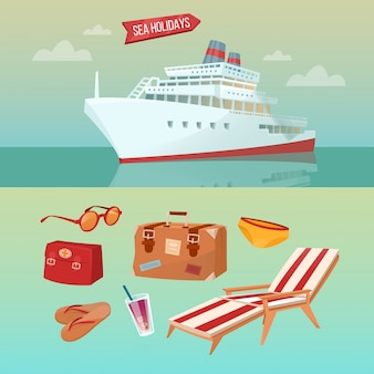 Sea holidays concept with cruise ship and summertime elements
