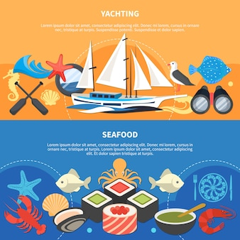 Sea horizontal banners set with seafood symbols flat isolated