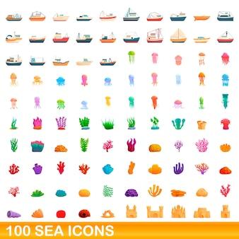 海のアイコンを設定します。白い背景に設定された海のアイコンの漫画イラスト