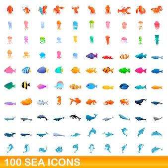 Sea icons set. cartoon illustration of  sea icons  set  on white background