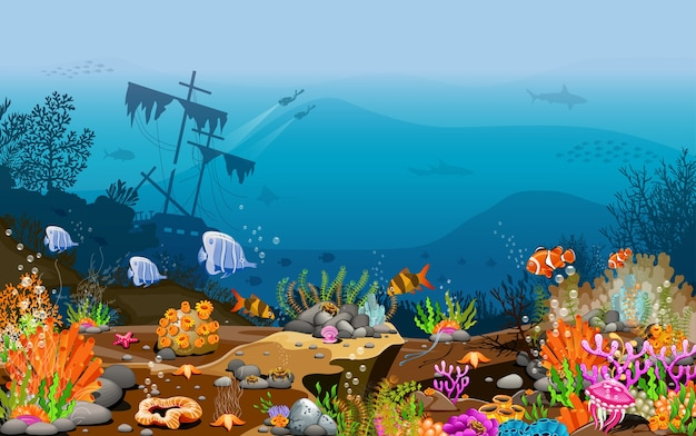 Sea illustration underwater life and the wonders of nature.