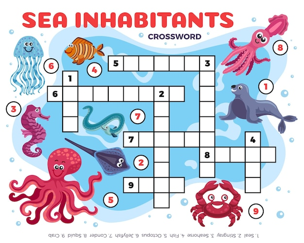 Sea inhabitants funny crossword illustration