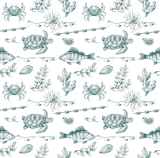 Sea inhabitants sketch. seamless pattern. sea turtle, fish, crabs, seaweed.