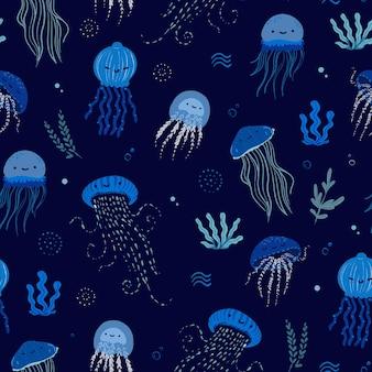 海クラゲかわいいシームレスパターン