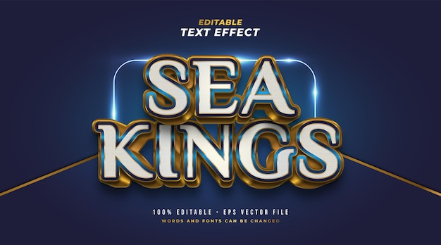 Sea kings text in white, blue and gold with 3d embossed effect. editable text style effect