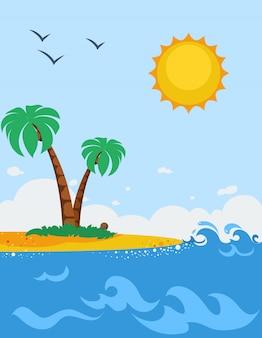 Sea landscape poster in cartoon style