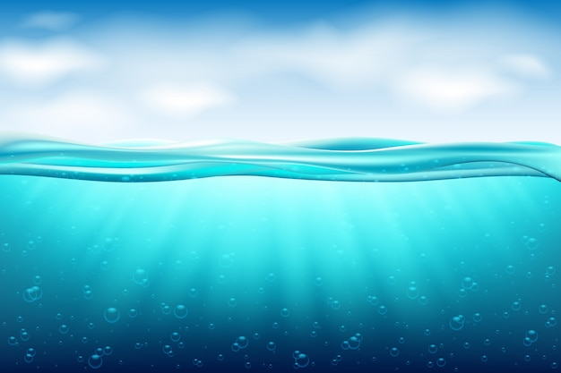 Sea landscape underwater space. background with realistic clouds horizon water surface.ocean deep water, sea under water level, sun rays blue wave horizon. water surface 3d concept