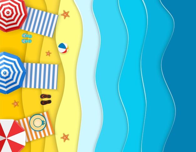 Морской пейзаж с пляжем