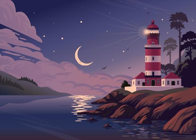Морской пейзаж с маяком на берегу и полумесяцем в облаках