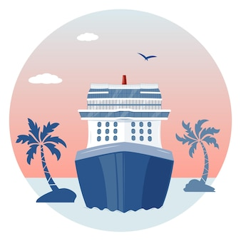 Sea landscape with cruise liner, palm trees and clouds
