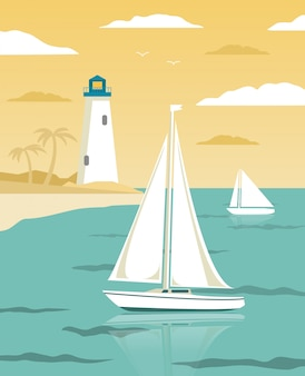 Sea landscape with sailing yachts and lighthouse tower