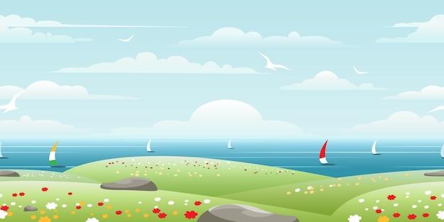 Морской пейзаж с парусами на горизонте бесшовные модели