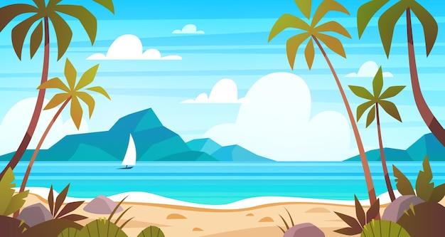 Морской пейзаж с тропическим пляжем, берегом океана. панорама райского острова с пальмой