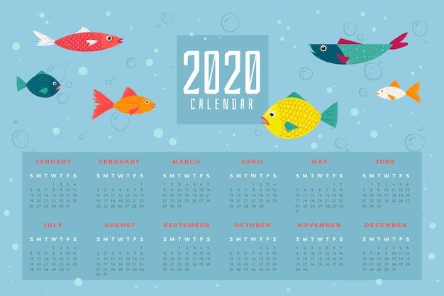 Sea life 2020カレンダーテンプレート