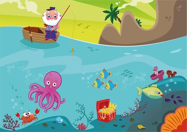 海の生物と漁師のイラスト