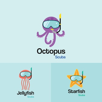 Sea life animal  scuba logo template. octopus, jellyfish, starfish with scuba diving mask in flat design for diving and snorkeling equipment shop, diving school.