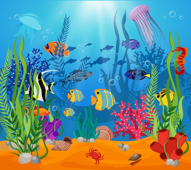 Sea life animals plants composition colored cartoon with marine life and various types of algae