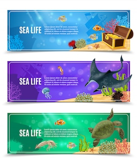 Sea life banner set