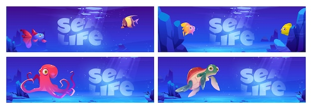 Sea life cartoon banners