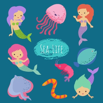 Sea life cartoon character animals and mermaids isolated set vector design