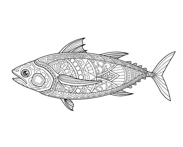 Морская жизнь раскраски страницы иллюстрации и полиграфический дизайн