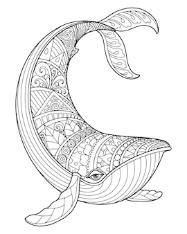 Sea life coloring page illustration and print design