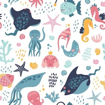 바다 생활 귀여운 패턴.