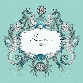 Sea life doodle иллюстрация