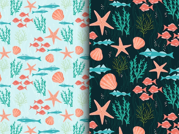 Under sea life kids seamless pattern