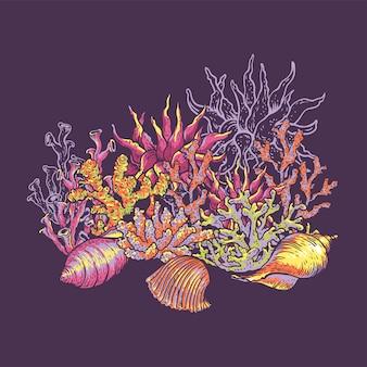 Морская жизнь природная открытка, подводная иллюстрация, рыба, ракушки и водоросли