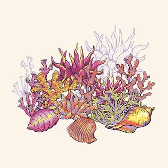 Sea life natural greeting card, underwater  illustration, fish, shells and seaweed