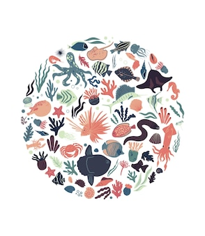 Sea life posters round shaped with tropical fishes squid corals seaweed mola crab and shells