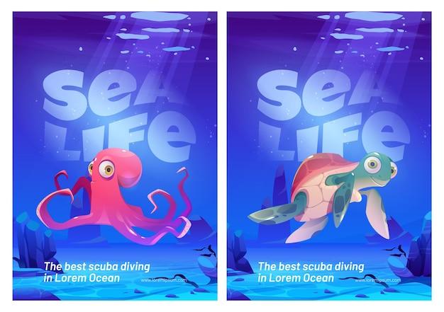 Sea life posters set