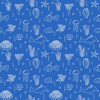바다 생활 원활한 패턴 손으로 그린 그림 물고기 조개의 끝없는 컬렉션