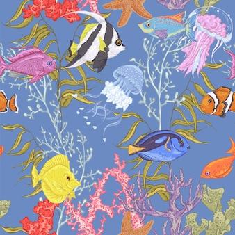Sea life seamless pattern, underwater vector illustration
