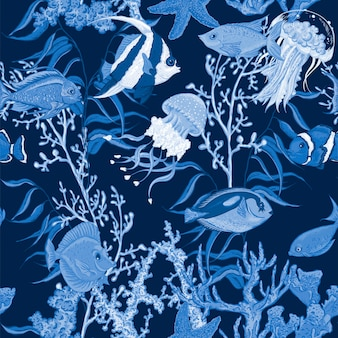 Sea life seamless pattern, underwater vector illustration