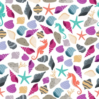 Sea life seamless pattern with sea horse and shell