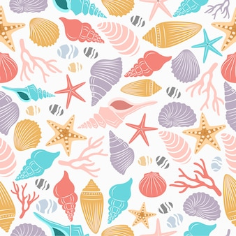 Sea life seamless pattern with shell and starfish